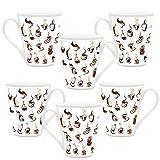 HomeSoGood Make Coffee This Way White Ceramic Latte Coffee Mug- 355 Ml (Set Of 6)