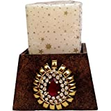 """Pyramid Shaped Brown Textured Wooden Candle Stand With A Metallic Brooch: Home Décor - 4.5"""" X 4.5"""" X 5.75"""""""
