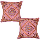 Lalhaveli Handmade Thread And Mirror Work Cotton Cushion Covers 16 Inches 2 Pcs