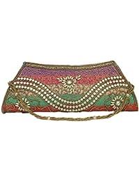 Handmade Purses Big Indian Ethnic Multi Coloured Patchwork Clutch Basket Star Design