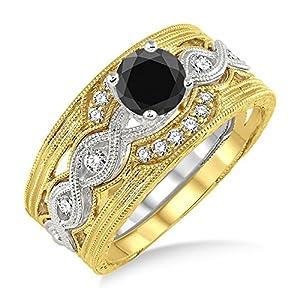 1.25 Carat Black Diamond Vintage Trio Bridal Set Engagement Ring on 10k White Gold