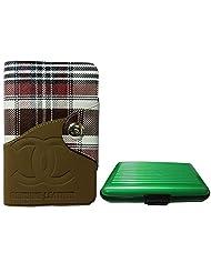 Apki Needs Long Brown Mens Wallet & Green Colored Credit Card Holder Combo
