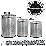King International Stainless Steel Open Perforated Dustbin Set Of 3 Pieces 5 Ltr.7 Ltr & 12 Ltr., 7x10-8x12-10x14