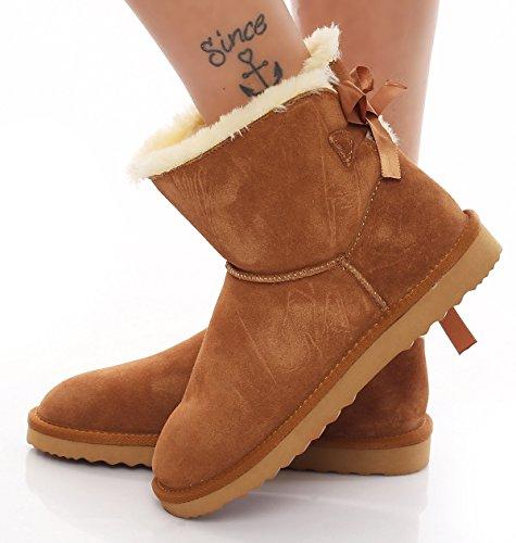 SKUTARI Damen - Winterstiefel Gefüttert Bow Boots Leder Schneestiefel, Camel , Größe 38