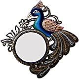 Divraya Wood Peacock Wall Mirror (40.64 Cm X 4 Cm X 40.64 Cm)