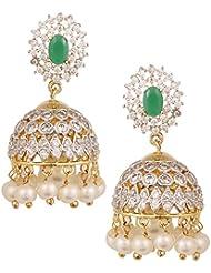 Swasti Jewels American Diamond CZ Fashion Jewellery Traditional Ethnic Pearls Jhumka Earrings For Women