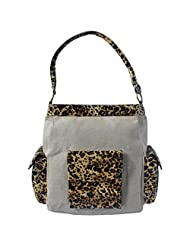 Stylocus Stylish HandBag Jute Bag With Animal Print Beige Color With Brown Black