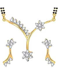 Amaal Mangalsutra Pendant Set With Earrings For Women Girls Jewellery Set Gold Plated In Cz American Diamond MSPT0159