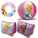Disney Princess Beach Fun Swimming Set Pool Toys - Inflatable Swim Ring, Arm Floats, Beach Ball