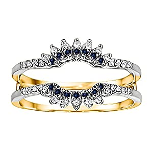 0.22CT Diamond and Sapphire Contoured Wedding Ring Jacket set in Two Tone Sterling Silver (0.22CT TWT G-H I1-I2 Diamond and Sapphire)