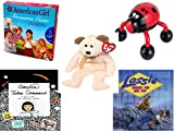 Girl's Gift Bundle - Ages 6-12 [5 Piece] - American Girl Treasures Game - Lady Bug Massager - Ty Beanie Babies Huggy The Bear - Amelia Takes Command Hardcover Book - Under the Big Top (Lassie) Pape