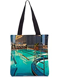 Snoogg Building With Purple Light At Top Digitally Printed Utility Tote Bag Handbag Made Of Poly Canvas