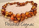Baltic Amber Teething Necklace 12.5 Inches for Babies (Unisex) (Cognac Brown Honey) - Baby, Infant, and Toddlers will all benefit. Polished Anti Flammatory, Drooling & Teething Pain Reduce Properties - Natural Certificated Oval Baroque Round Baltic Jewelry with the Highest Quality Guaranteed. Easy to Fastens with a Twist-in Screw Clasp Mothers Approved Remedies! (Polished Cognac)