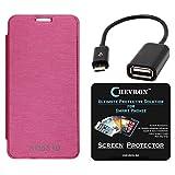 Chevron Flip Cover With Chevron HD Screen Guard & Micro OTG Cable For Micromax Yu Yureka AO5510 (Pink)