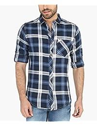 Nick&Jess Mens Navy Blue Flannel Checkered Slim Fit Shirt