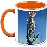 HomeSoGood The Living Mermaid Statue White Ceramic Coffee Mug - 325 Ml