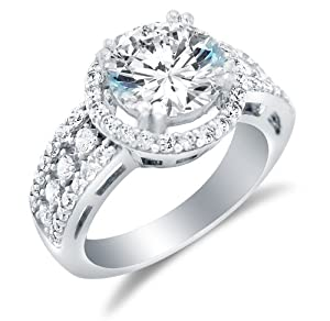 Size 7 - Solid 14k White Gold Large Wide Round Brilliant Cut Solitaire with Round Side Stones Highest Quality CZ Cubic Zirconia Engagement Ring 3.5ct.