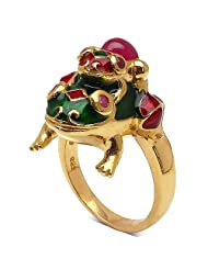 3.50 Grams Red Synthetic Stone & Ruby Gold Plated .925 Sterling Silver Frog Shape Red & Green Enamel Ring