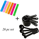 Ascension 26Pc Combo Of 8 Pc Measuring Spoon Set And 18 Pc 3 Different Size Plastic Food Snack Bag Pouch Clip Sealer (Multi Color)