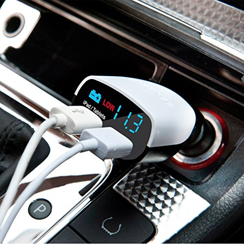 Dual Usb Car Charger Monitor T2 White
