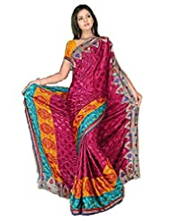 Sehgall Sarees Indian Bollywood Designer Professional Ethnic Poly Silk Crape Colour Magenta - B00OFNT63A