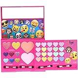 Townley Girl Emoji Sparkly, Shiney Cosmetic Set For Girls, Eye Shadow, Blush, Lip Gloss, Applicators And Mirror