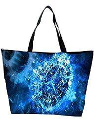 Snoogg Blue Clock Abstract Designer Waterproof Bag Made Of High Strength Nylon