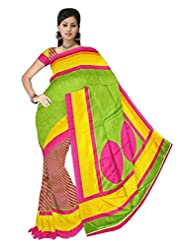 ShoppingOye Printed Multi Color Khadi Silk Saree With Blouse Piece