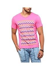 Yepme Men's Pink Cotton Single Jersey Graphic Tees