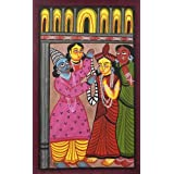 "Dolls Of India ""Marriage Of Rama And Sita"" Kalighat Painting - Water Color On Paper - Unframed (55.88 X 38.10..."