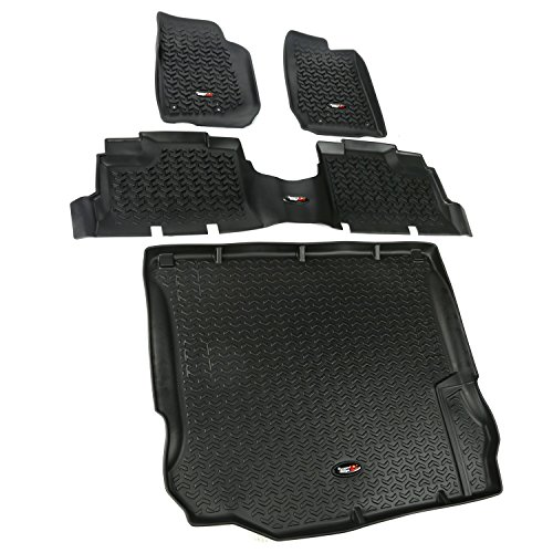Rugged Ridge All-Terrain 12988.04 Black Front, Rear and Cargo Floor Liner Kit For Select Jeep Wrangler Unlimited Models
