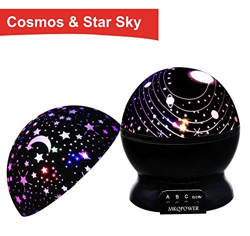 MKQPOWER Nachtlicht Projektor, beleuchten Ihr Schlafzimmer mit diesem Mond, Stern, Himmel-romantisches LED-Nachtlichtprojektor- bestes Geschenk für Mann-Frauen-Teens Kinderkind-Schlafen-Hilfsmittel (Schwarzes mit 2 Kappen)