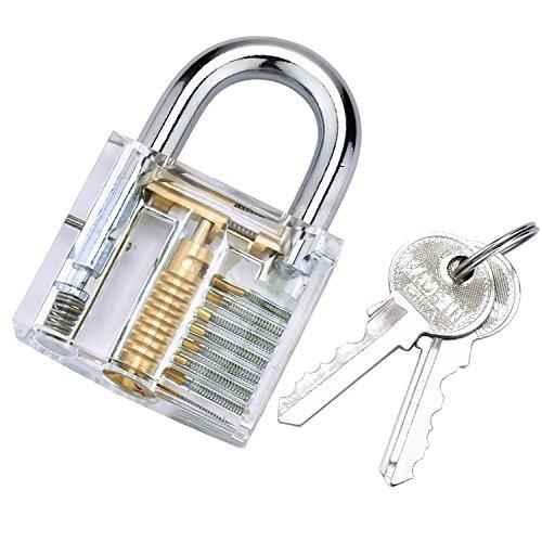 G2PLUS Transparents Schloss Schlössern Vorhängeschlösser Übungsschloss mit 2 Stabilen Schlüsseln für Schlosser Anfänger - 2