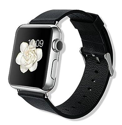 【VSTN】 Apple Watch 38mm 時計バンド 本革 交換ベルト Apple Watch 38mm 腕時計ストラップ ( ブラック)