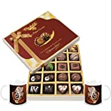 Chocholik Belgium Chocolates - 20pc Dark And Milk Chocolate Box With Diwali Special Coffee Mugs - Diwali Gifts