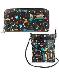 Combo Offer Of Designer Sling Bag +Wallet Black Printed Stylish Sling Bag For Girls, Womens, Ladies Wallet Purses...