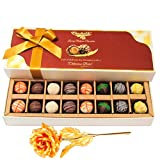 Divine Treat Of Assorted Truffles With 24k Gold Plated Rose - Chocholik Belgium Chocolates