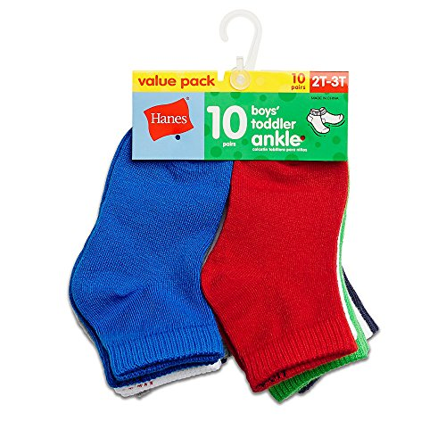 Hanes Boys' Toddler Ankle Sock 10-Pack, assorted, 6/ 4T-5T