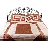 Ivory And Rust Seven-Piece Banarasi Bedcover With Woven Elephants - Silk - With Pillow Cases And Cus