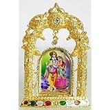 DollsofIndia Radha Krishna On Stone Studded And Golden Carved Metal Frame - Metal Frame - B00LD5SNF0