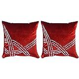 Royal DecoFurnishing Velvet 2 Piece Cushions & Cushion Covers - (Maroon, 39.37 X 39.37 Cm)