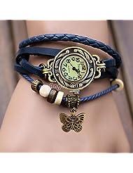 ADAMO Multiband Blue Leather Bracelet Watch With Butterfly Charm For Women