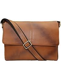 "Hidekraft 100% Genuine Leather Laptop Bag For Men, Brown, 15"" Laptop Bag"