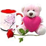 Valentine Gifts HomeSoGood 14 Shades Of Love White Ceramic Coffee Mug With Teddy & Red Rose - 325 Ml
