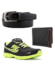Elligator Stylish Black & Green Shoes With Belt & Wallet For Men's