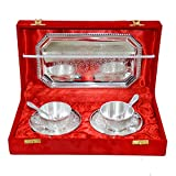 Silver Plated Cup Plate Tea Set Of 7 Pcs With Box Packing
