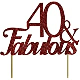 All About Details Red 40-&-fabulous Cake Topper