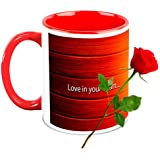 Love Gifts For Her - HomeSoGood Amazing Valentine's Day White Ceramic Coffee Mug With Red Rose - 325 Ml