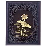 FineDor 24kt Gold Foil 3D Lotus Frame, 25cmX4cm