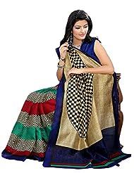 Riti Riwaz Beige & Blue Bhagalpuri Silk Casual Saree With Unstitched Blouse KNK6408B